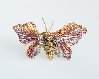 Art wire butterfly brooch, Mini sculpture jewelry, Pink gold butterfly, Insect jewelry pins