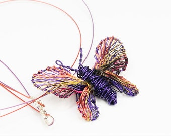 Purple butterfly necklace handmade art, Bug jewelry sculpture wire, Unusual necklace gift insect lovers