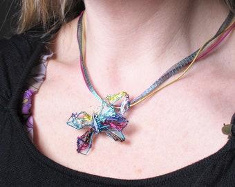 Copper geometric, wire art, butterfly necklace