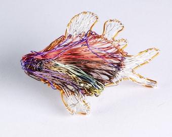Red fish jewelry, Metal fish brooch, Modern fish sculpture wire art, Ocean Tropical statement fish