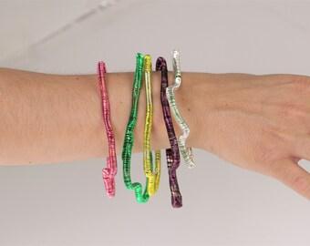 Modern minimalist, wire bangle bracelet, 4 red bracelet, abstract geometric, adjustable bangle, art to wear, boho gift for her, summer gift