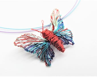 Red butterfly necklace - turquoise red -  art necklace - wire sculpted jewelry - contemporary jewelry - modern jewellery design - unusual