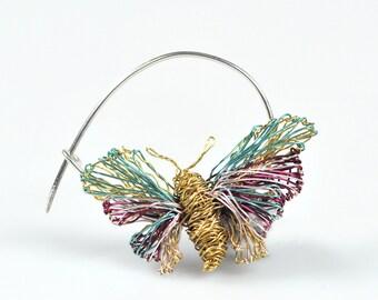 Burgundy gold butterfly pin, fairy art, pastel pin