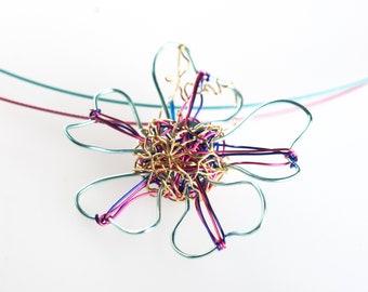 Colorful flower necklace art, Dainty flower jewelry, Modern minimalist pendant necklace wire