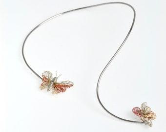 Butterfly necklace wire, wearable art jewelry