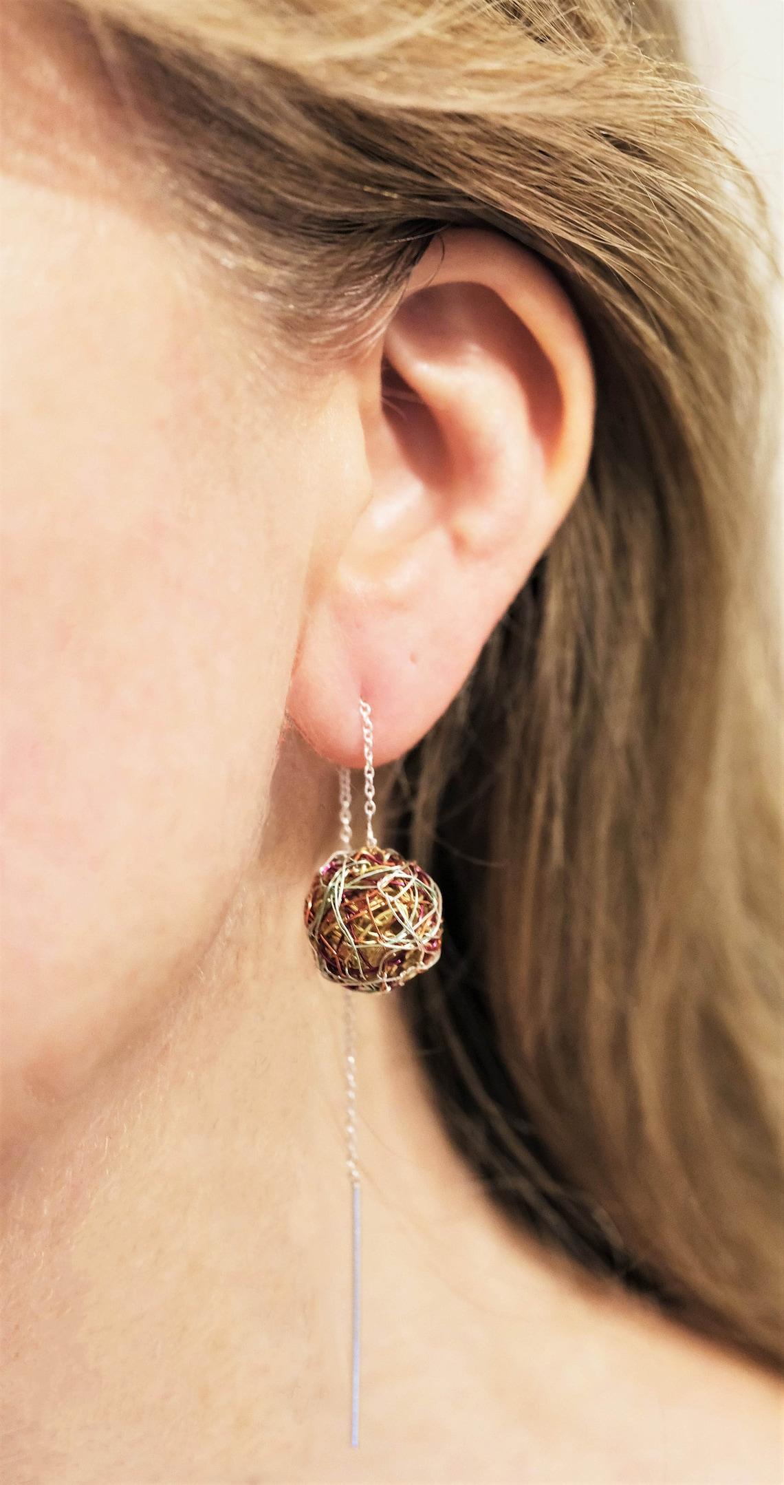 Ball drop earrings, Sphere wire earrings