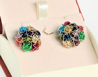 Bouquet earrings, wire flower earrings, multicolor, long post, ball drop earrings, colorful, modern, unusual jewelry, Summer gift for sister