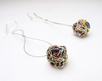 Statement art, gold ball earrings colorful