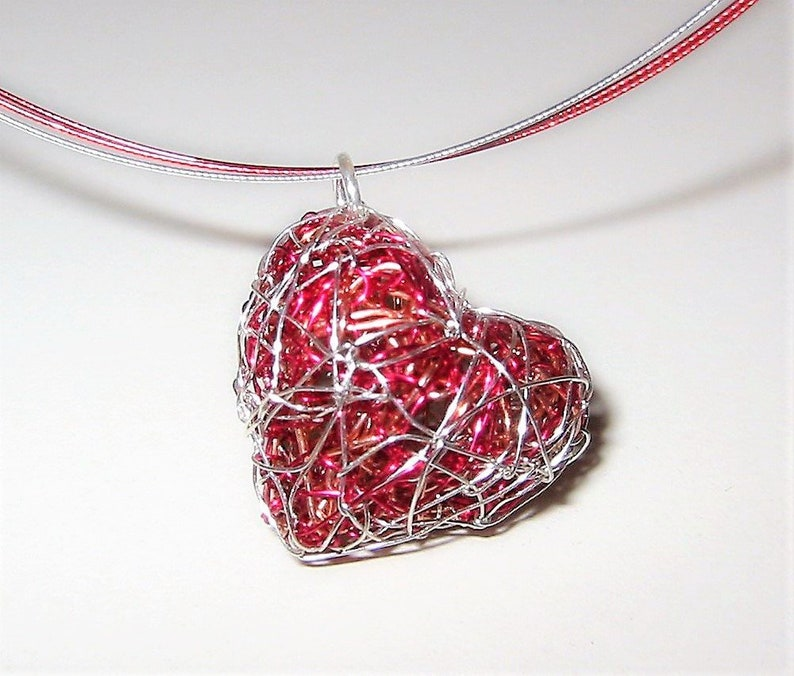 Red heart necklace sculpture wire art jewelry image 0