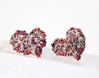 Red heart earrings studs, Cute different earrings, Modern hippie jewelry, Wire heart jewelry