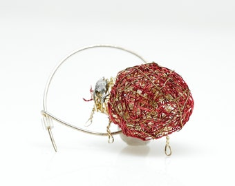 Ladybug brooch pin, Red beetle insect brooch, Wire bug sculpture jewelry art animal, Ladybird jewelry
