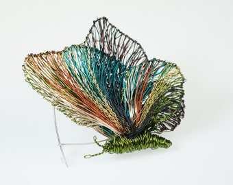 Handmade brooch butterfly insect, Wire butterfly sculpture, Olive green contemporary art, Unusual jewelry