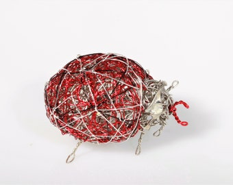 Wire art silver red lady bug pins, statement brooch