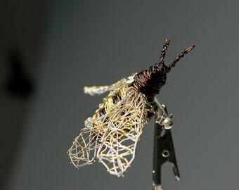 Honey bee brooch, fairy art pin, animal lover gift