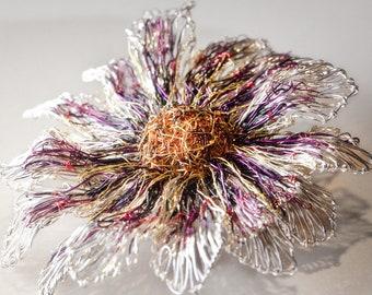 Pink flower brooch, Metal flower sculpture wire art, Contemporary wearable art, Gerbera daisy jewelry