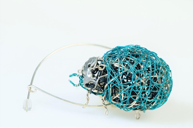 Beetle brooch pin, blue green, large, jacket, ladybug brooch, wire ...