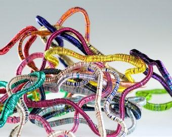 Modern bangle bracelet for women, 5, abstract geometric minimalist, interchangeable, adjustable, colorful, wire bracelet, hippie Summer gift