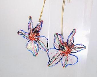 Flower earrings long, wire art, artsy earrings