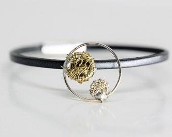 Wire art, circle bracelet, leather cuff