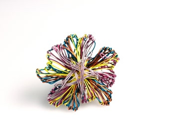 Flower brooch pin, Wire flower sculpture, Metal flower jewelry, Unique abstract art jewelry