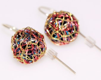 Ball earrings, minimalist, wire, short dangle drop earrings, red gold, geometric, sphere earring, modern hippie, Summer jewelry, womens gift