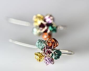 Ball flower earrings drop, Colorful wire earrings, Minimal pin earring, Cute art gifts for her