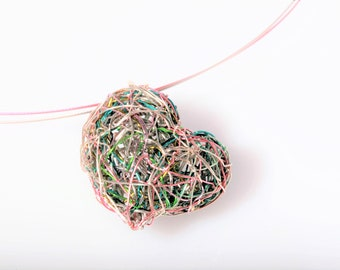 Pink heart necklace, wire wrapped pendant