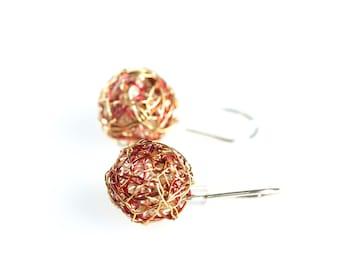 Gold ball earrings drop, Modern minimal earrings, Art earrings, Sphere wire earrings