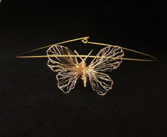14k gold necklace, gold butterfly necklace, big gold pendant, fine jewelry, wire sculpture art modern jewelry, anniversary gift for wife