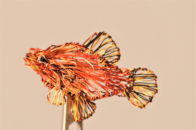 Fish brooch, wire sculpture art, beach tropical jewelry, sea ocean ...