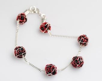 Silver red black beads, ball chain bracelet wrap