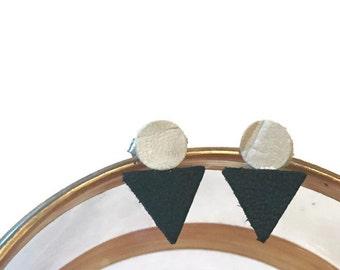 Black and off white triangle earrings, handmade earrings, leather earrings, leather stud earrings, stud earrings, leather geometric studs