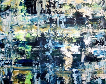 """Original Blue Painting Square Abstract Acrylic 20"""" x 20"""""""