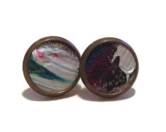 Purple, white, and black Earrings, purple leather painted earrings,  leather earrings Copy