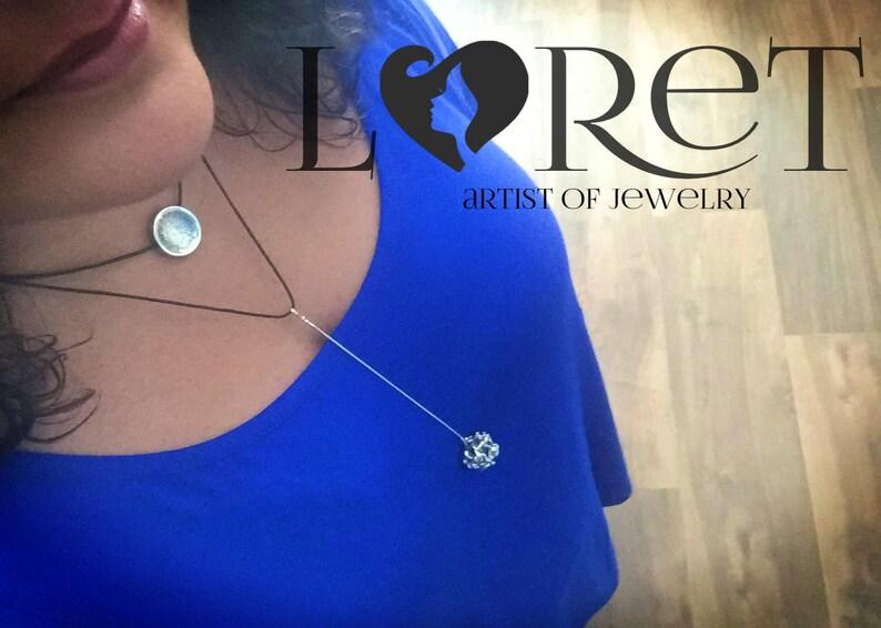 Organic Pendant  Sphere Pendant  Sterling Silver Pendant  Statement Necklace  Adjustable Necklace  Leather Necklace  Unique Necklace