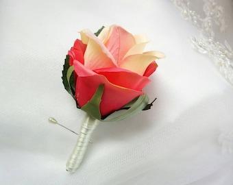 Wedding Silk Coral Rose Boutonniere