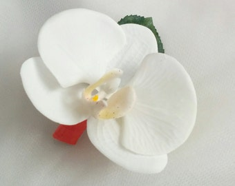 Wedding Natural Touch White Phalaenopsis Orchid with Coral Wrap Boutonniere - Silk wedding Boutonniere