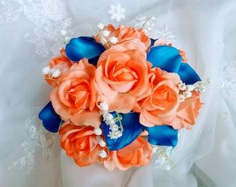 Bouquet De Mariee En Soie Naturel Touche Aruba Turquoise Bleu Etsy