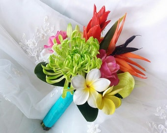 Silk flower bird of paradise etsy wedding tropical natural touch bird of paradise red ginger plumerias fuji mum roses calla lilies and orchids silk wedding bouquet set mightylinksfo