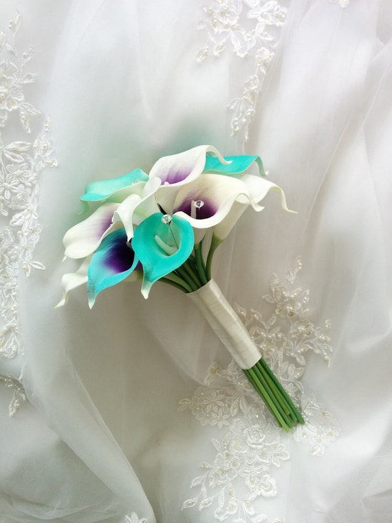 Silk Wedding Bouquet Natural Touch Turquoise Blue Purple Ivory Etsy