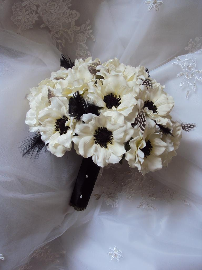 Wedding silk ivory anemones wedding bouquet accented with etsy zoom izmirmasajfo