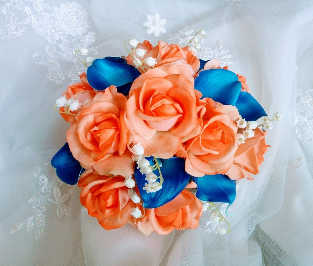 Silk Wedding Bouquet Natural Touch Orange Roses And Royal Blue Etsy