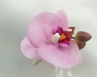 Wedding Natural Touch Lavender Phalaenopsis Orchid Boutonniere - Silk Wedding Boutonniere