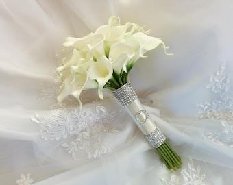 Silk wedding bouquet Natural Touch Ivory Calla Lilies Bridal Wedding Bouquet