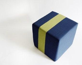 Outdoor Navy Blue Pouf/Floor Pouf/Ottoman/Stripe Pouf/Apple Stripe/Urban/ Modern/Floor Pouf/Foot Stool/Nursery Pouf/ Zigzag Studio Design