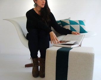 Natural Pouf/Ottoman/Modern Floor Pouf/Stripe Pouf/ Black Stripe/Additional Seating/Nursery Pouf/ Side Table/ Zigzag Studio Design