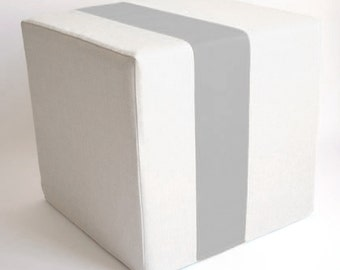 Cream Pouf/Floor Pouf/Ottoman/Stripe Pouf/Grey Stripe/Urban/ Modern/Floor Pouf/Foot Stool/Nursery Pouf/ Zigzag Studio Design