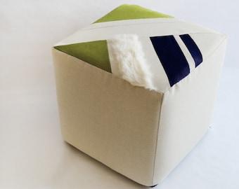 Cube/Ottoman/Modern Pouf/Custom Ottoman/Ivory/Navy Blue/Green Apple/Foot Stool/Nursery Ottoman/Stylish Pillow/Zigzag Studio Design