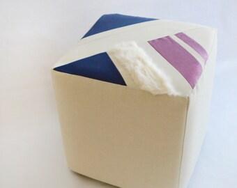 Cube/Ottoman/Modern Pouf/Custom Ottoman/Ivory/Navy Blue/Purple/Foot Stool/Nursery Ottoman/Stylish Pillow/Zigzag Studio Design