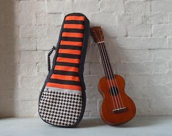 Soprano ukulele case -The orange stripes - canvas ukulele case  (Ready to ship)